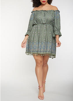 Plus Size Off the Shoulder Border Print Dress - 1930069390583
