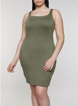 Plus Size Sleeveless Bodycon Dress - 1930069390674