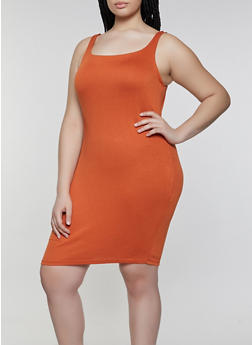 Plus Size Sleeveless Bodycon Dress - 1930069390674