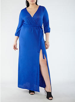 Plus Size Faux Wrap Belted Maxi Dress with Sleeves - 1930069390681