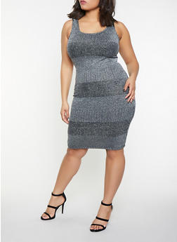 Plus Size Shimmer Knit Tank Dress - 1930069390821