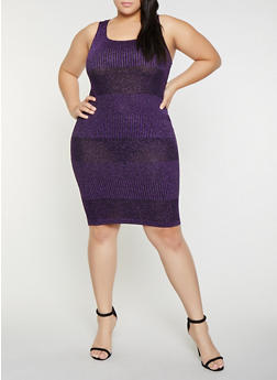 6b0f2d24ad6 Plus Size Shimmer Knit Tank Dress - 1930069390821
