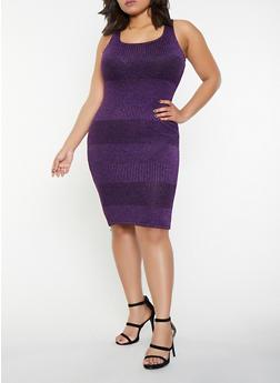 Plus Size Shimmer Knit Tank Dress - 1930069390821