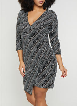 Plus Size Shimmer Knit Faux Wrap Dress - 1930069390905