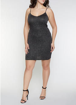 Plus Size Shimmer Knit Bodycon Dress - 1930069390913