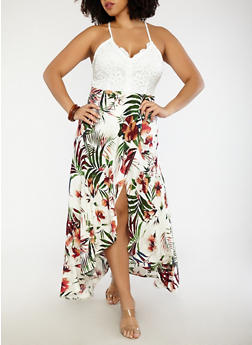Plus Size Tropical Print Maxi Dress - 1930069391019