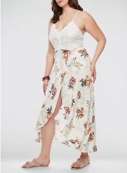 Plus Size Tropical Print Maxi Dress - 1930069391019