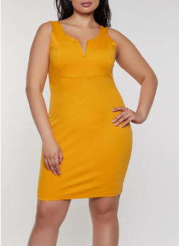 Plus Size Bodycon Ponte Dress - 1930069391023