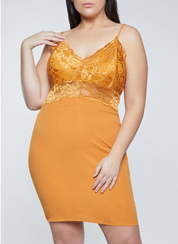 Plus Size Lace and Crepe Knit Bodycon Dress - 1930069391095