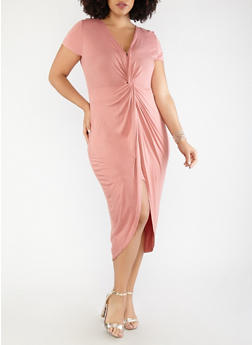 Plus Size Knot Front Dress - 1930069391168