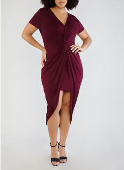 Plus Size Knot Front Dress - BURGUNDY - 1930069391168