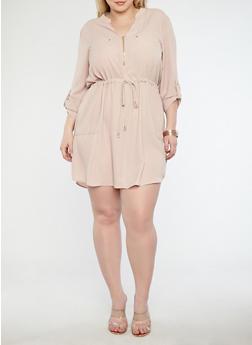 Plus Size Crepe Knit Zip Neck Shift Dress - 1930069391461