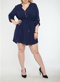 Plus Size Crepe Knit Zip Neck Shift Dress - 1930069391461