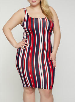Plus Size Soft Knit Vertical Stripe Tank Dress - 1930069391492