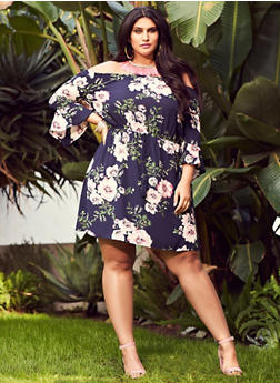 Plus Size Off the Shoulder Floral Dress - 1930069392005