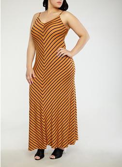 Plus Size Striped Maxi Dress - 1930069392485