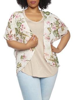Plus Size Floral Chiffon Kimono - 1930069392583