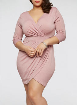 Plus Size Ruched Faux Wrap Dress with Sleeves - MAUVE - 1930069392670