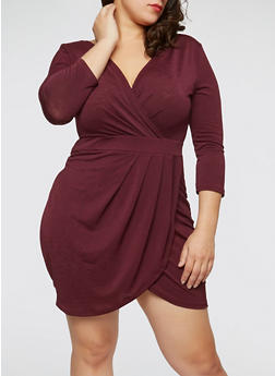 Plus Size Ruched Faux Wrap Dress with Sleeves - BURGUNDY - 1930069392670