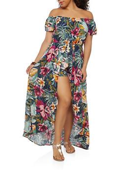 Plus Size Floral Maxi Romper - 1930069392719