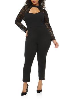 Plus Size Keyhole Lace Sleeve Jumpsuit - 1930069393010