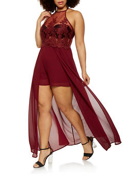Plus Size Embroidered Mesh Maxi Romper - 1930069393133