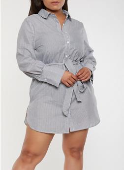 Plus Size Striped Shirt Dress - 1930069393382