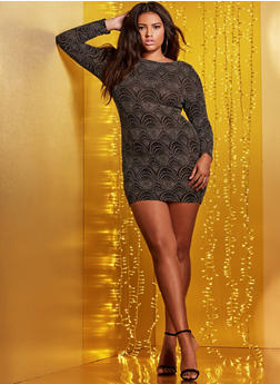 Plus Size Draped Back Shimmer Knit Dress - 1930069393434