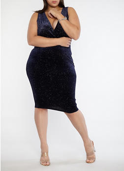 Plus Size Velvet Glitter Bodycon Dress - 1930069393437