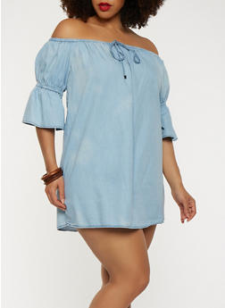 Plus Size Chambray Off the Shoulder Dress - 1930069393490