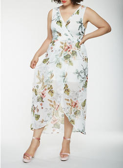 Plus Size Printed Faux Wrap Maxi Dress - 1930069393534