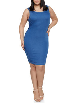 Plus Size Denim Bodycon Dress - 1930069393535