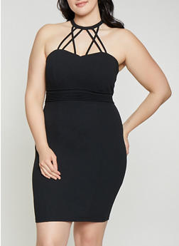 Plus Size Caged Bodycon Dress - 1930069393552
