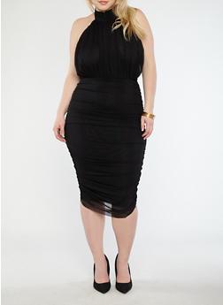Plus Size Ruched Mesh Midi Dress - 1930069393583