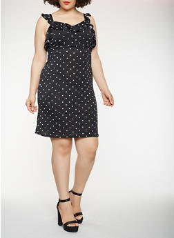 Plus Size Ruffle Polka Dot Dress - 1930069393610