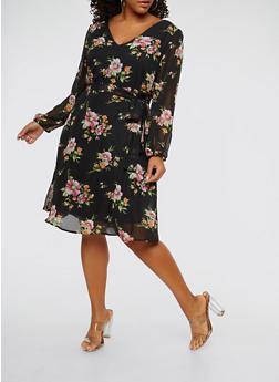 Plus Size Floral Long Sleeve Tie Waist Dress - 1930069393618