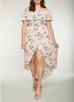 Plus Size Floral Off the Shoulder High Low Dress - 1930069393629