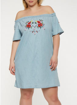 Plus Size Embroidered Off the Shoulder Dress - 1930069393631