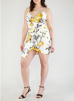 Plus Size Floral Faux Wrap Dress - 1930069393636