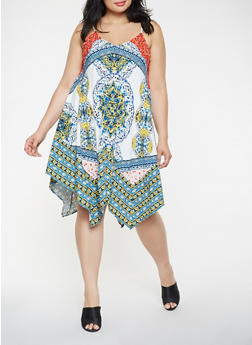 Plus Size Printed Asymmetrical Midi Dress - 1930069393652