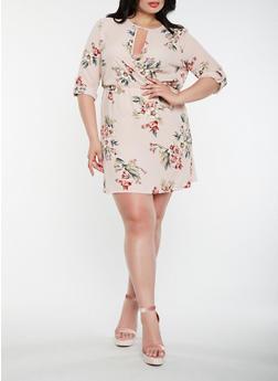 Plus Size Floral Faux Wrap Midi Dress - 1930069393654
