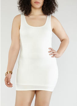 Plus Size Knit Tank Dress - WHITE - 1930069393674