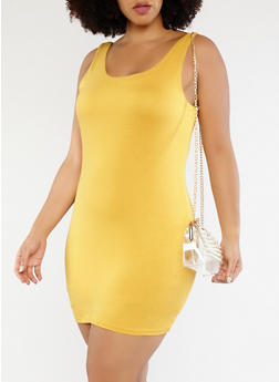 Plus Size Knit Tank Dress - 1930069393674