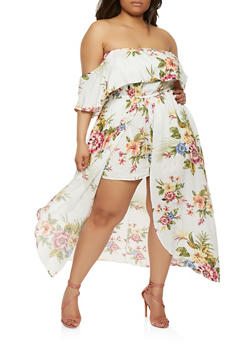 Plus Size Off the Shoulder Maxi Romper - 1930069393680