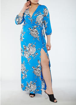 Plus Size Floral Faux Wrap Maxi Dress with Sleeves - 1930069393681