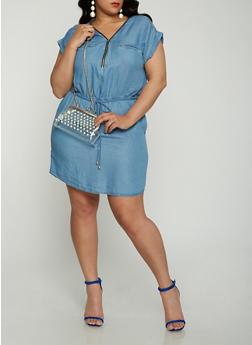 Plus Size Zip Neck Chambray Dress - 1930069393698