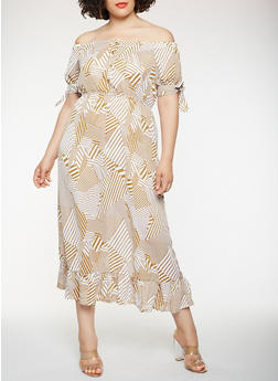 Plus Size Printed Off the Shoulder Maxi Dress - 1930069393770