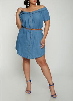 Plus Size Chambray Off The Shoulder Shirt Dress - 1930069393795