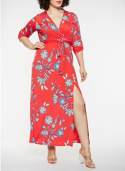 Plus Size Printed Faux Wrap Maxi Dress - 1930069393798