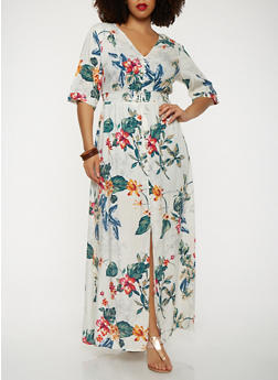 Plus Size Floral Button Front Maxi Dress with Sleeves - 1930069393809